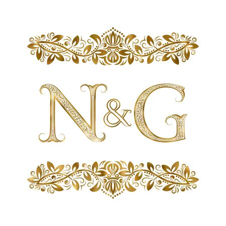 N and G vintage initials   symbol. The letters are surrounded by ornamental elements. Wedding or business partners monogram in royal style.  イラスト・ベクター素材
