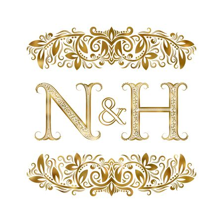 N and H vintage initials  symbol. The letters are surrounded by ornamental elements. Wedding or business partners monogram in royal style.