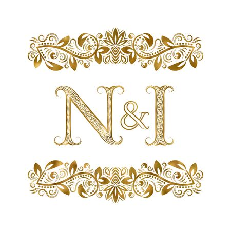 N and I vintage initials  symbol. The letters are surrounded by ornamental elements. Wedding or business partners monogram in royal style.