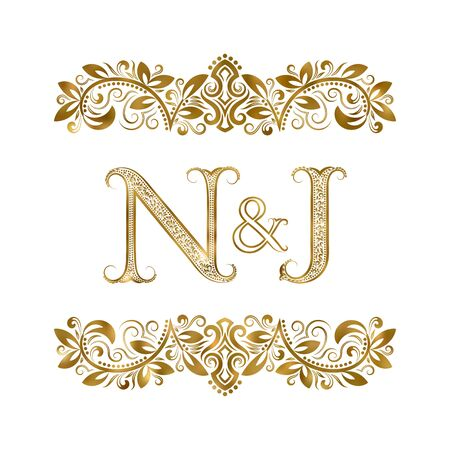N and J vintage initials  symbol. The letters are surrounded by ornamental elements. Wedding or business partners monogram in royal style.  イラスト・ベクター素材
