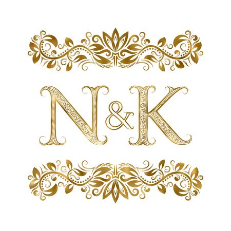 N and K vintage initials   symbol. The letters are surrounded by ornamental elements. Wedding or business partners monogram in royal style.