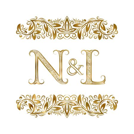 N and L vintage initials  symbol. The letters are surrounded by ornamental elements. Wedding or business partners monogram in royal style.