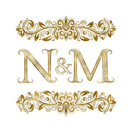 N and M vintage initials  symbol. The letters are surrounded by ornamental elements. Wedding or business partners monogram in royal style.  イラスト・ベクター素材