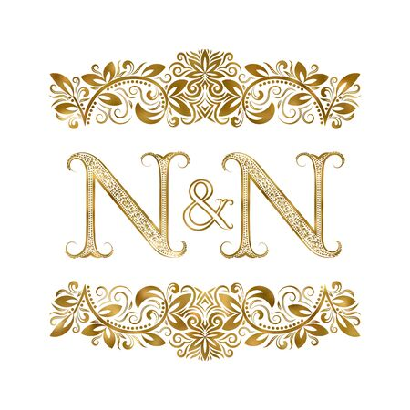 N and N vintage initials  symbol. The letters are surrounded by ornamental elements. Wedding or business partners monogram in royal style.  イラスト・ベクター素材
