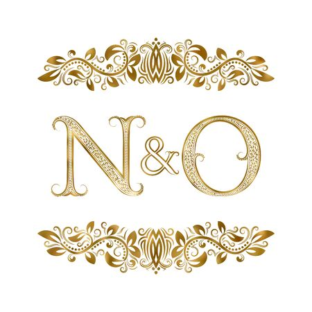N and O  vintage initials  symbol. The letters are surrounded by ornamental elements. Wedding or business partners monogram in royal style.