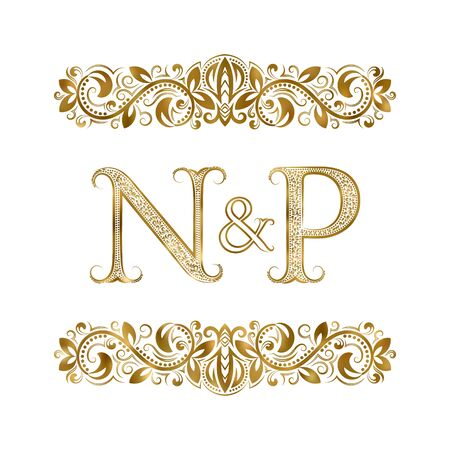N and P vintage initials  symbol. The letters are surrounded by ornamental elements. Wedding or business partners monogram in royal style.  イラスト・ベクター素材