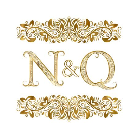 N and Q vintage initials  symbol. The letters are surrounded by ornamental elements. Wedding or business partners monogram in royal style.