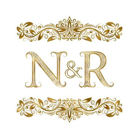 N and R vintage initials  symbol. The letters are surrounded by ornamental elements. Wedding or business partners monogram in royal style.