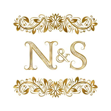 N and S vintage initials  symbol. The letters are surrounded by ornamental elements. Wedding or business partners monogram in royal style.  イラスト・ベクター素材