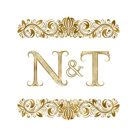 N and T vintage initials  symbol. The letters are surrounded by ornamental elements. Wedding or business partners monogram in royal style.  イラスト・ベクター素材