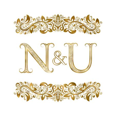 N and U vintage initials  symbol. The letters are surrounded by ornamental elements. Wedding or business partners monogram in royal style.