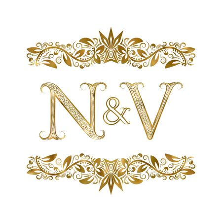 N and V vintage initials  symbol. The letters are surrounded by ornamental elements. Wedding or business partners monogram in royal style.  イラスト・ベクター素材