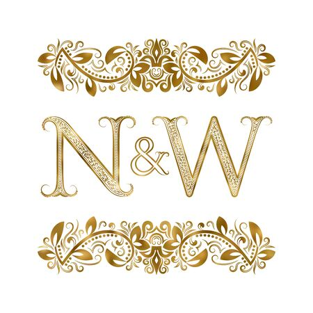 N and W vintage initials  symbol. The letters are surrounded by ornamental elements. Wedding or business partners monogram in royal style.  イラスト・ベクター素材