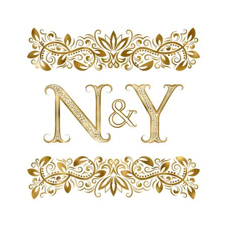 N and Y vintage initials  symbol. The letters are surrounded by ornamental elements. Wedding or business partners monogram in royal style.