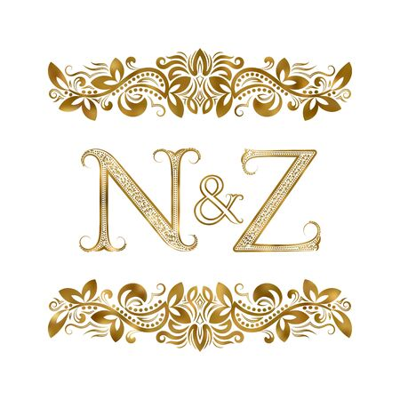 N and Z vintage initials  symbol. The letters are surrounded by ornamental elements. Wedding or business partners monogram in royal style.  イラスト・ベクター素材