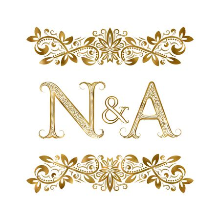 N and A vintage initials  symbol. The letters are surrounded by ornamental elements. Wedding or business partners monogram in royal style.