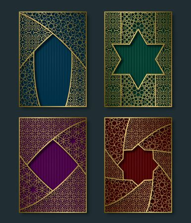 Cover templates set in luxurious vintage style. Booklet, brochure, greeting card, leaflet backgrounds with golden frames. Stock Illustratie