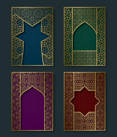 Cover templates set in luxurious vintage style. Booklet, brochure, greeting card, leaflet backgrounds with golden frames.  イラスト・ベクター素材