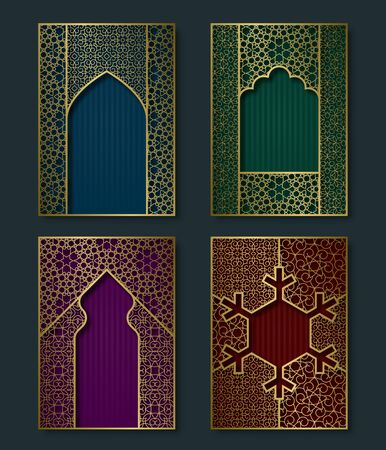 Cover templates set in luxurious oriental style. Booklet, brochure, greeting card backgrounds with ornate golden frames.  イラスト・ベクター素材