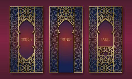 Golden packaging design in oriental style. Set of labels templates with vintage patterned frames. Illusztráció
