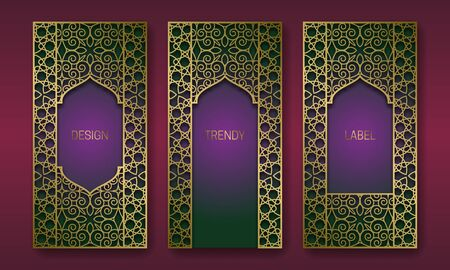 Golden packaging design in oriental style. Set of labels templates with vintage patterned frames.  イラスト・ベクター素材