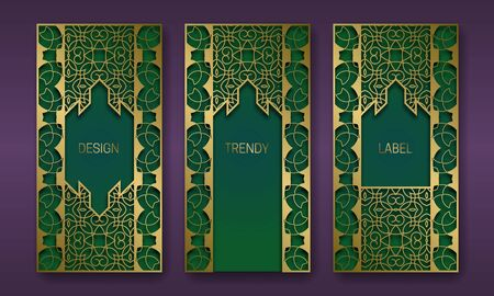 Golden luxurious packaging design series. Set of labels templates with vintage patterned frames.