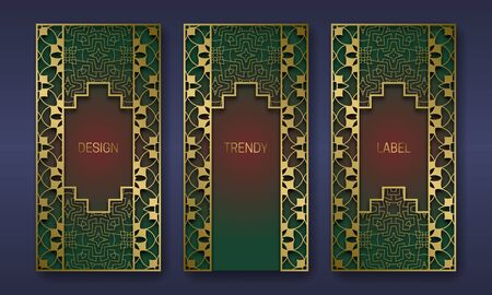 Golden stylish packaging design series. Set of labels templates with vintage patterned frames.