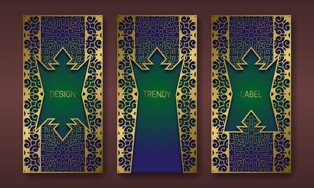 Golden decorative packaging design series. Set of labels templates with vintage patterned frames.