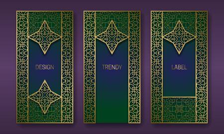 Golden antique packaging design series. Set of labels templates with vintage patterned frames.
