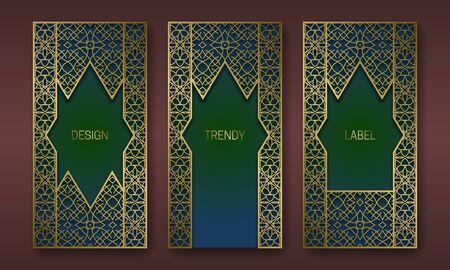Golden classic packaging design series. Set of labels templates with vintage patterned frames.