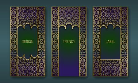Golden ornate packaging design. Set of labels templates with indian ornament frames. Illusztráció