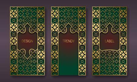 Golden antique packaging design. Set of labels templates with indian ornament frames.  イラスト・ベクター素材