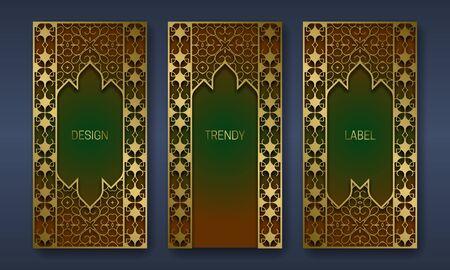 Golden ornamental packaging design. Set of labels templates with indian ornament frames.