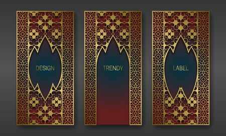 Golden classic packaging design. Set of labels templates with indian ornament frames.