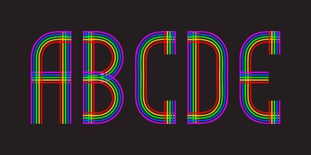 A, B, C, D, E multicolored lines letters. Isolated stylish font.