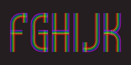 F, G, H, I, J, K multicolored lines letters. Isolated stylish font.