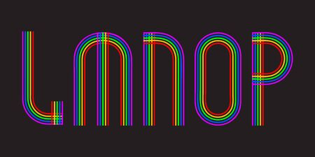 L, M, N, O, P multicolored lines letters. Isolated stylish font.