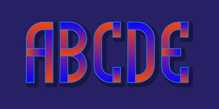 A, B, C, D, E red blue gradient letters. Urban vibrant font.