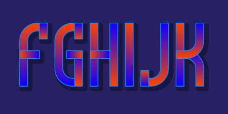 F, G, H, I, J, K red blue gradient letters. Urban vibrant font.  イラスト・ベクター素材