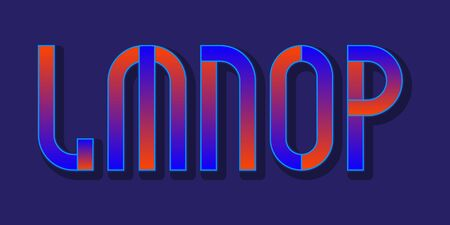 L; M; N; O; P red blue gradient letters. Urban vibrant font.  イラスト・ベクター素材