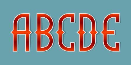 A, B, C, D, E orange red gradient letters. Bright elegant font.
