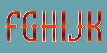 F, G, H, I, J, K orange red gradient letters. Bright elegant font.  イラスト・ベクター素材