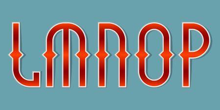 L, M, N, O, P orange red gradient letters. Bright elegant font.  イラスト・ベクター素材