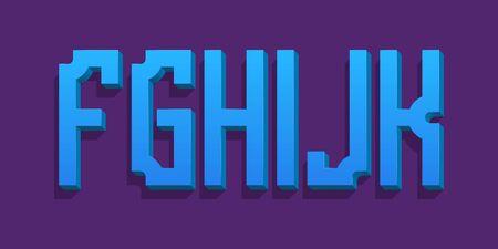 F, G, H, I, J, K blue stylish volumetric letters. Urban 3d font.  イラスト・ベクター素材