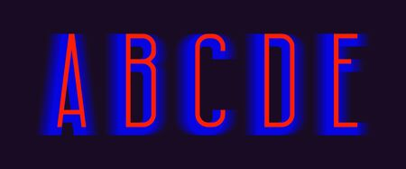 A, B, C, D, E red blue layered letters. Urban vibrant font.  イラスト・ベクター素材