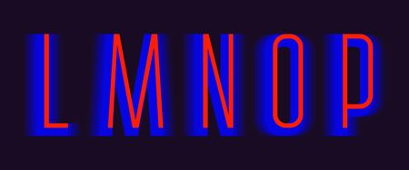 L; M; N; O; P red blue layered letters. Urban vibrant font.  イラスト・ベクター素材
