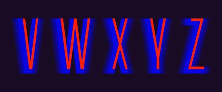 V, W, X, Y, Z red blue layered letters. Urban vibrant font.  イラスト・ベクター素材