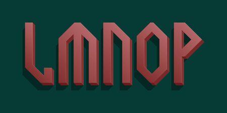 L, M, N, O, P red volumetric letters. Urban 3d retro font.
