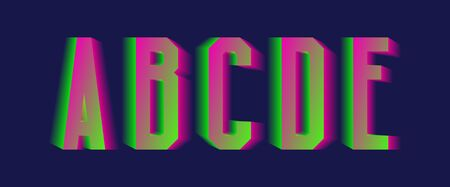 A, B, C, D, E green pink blurred letters. Thrilling vibrant font.  イラスト・ベクター素材