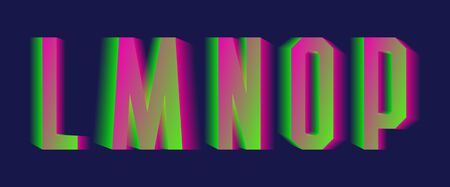 L, M, N, O, P green pink blurred letters. Thrilling vibrant font.  イラスト・ベクター素材